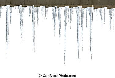 Row of hanging icicles - Long icicles hanging from the roof
