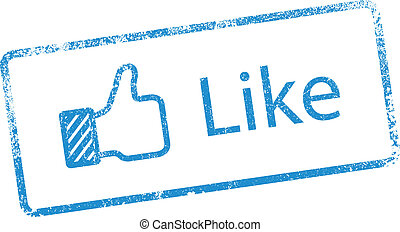 "Like ink stamp - Vector illustration of ""Like"" in blue ink..."