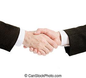 business handshake - isolated on white background, selective...