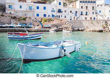 Fishing boats in Mediterranean sea - Fishing boats at...