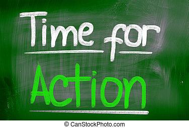 acción, concepto, tiempo