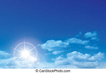 Vector sunny sky with clouds