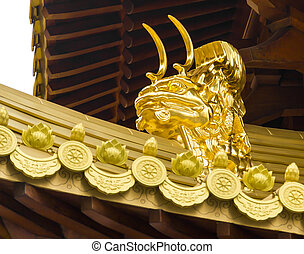 Jing An Temple Golden Dragon Heads - Golden Dragon Heads in...