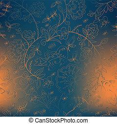 bird and flower. blue background, orange spots