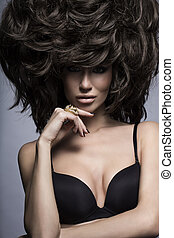 Model with hairstyle and makeup