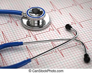 Stethoscope and ECG cardiogram Medicine concept, 3d