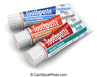 Three toothpaste containers 3d - Three toothpaste containers...