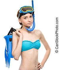 Young woman with snorkel equipment