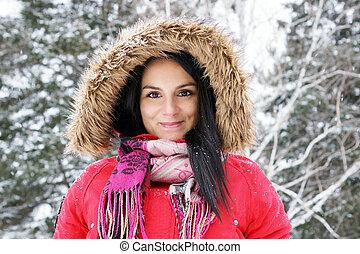 manteau, femme, hiver, rouges, jeune