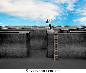 Cheered businessman climbing on top of Maze wall with sky -...