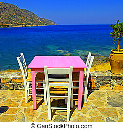 outdoor restaurant in Greece - Outdoor restaurant -...