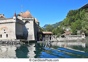 Powerful wall medieval castle Chillon on Lake Geneva. Clear...