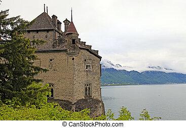 The Chillon Castle (Chateau de Chillon), Switzerland - The...