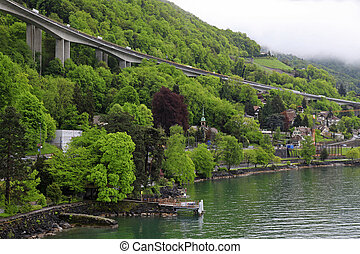 Swiss village on lake Geneva