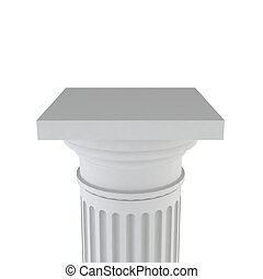 White column - Classic column 3d illustration on white...