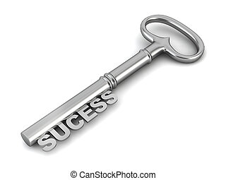 Sucess key 3d illustration on white background