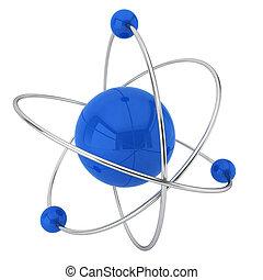 Model of atom. 3d illustration on white background