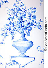 baroque floral pattern - blue and white french baroque...