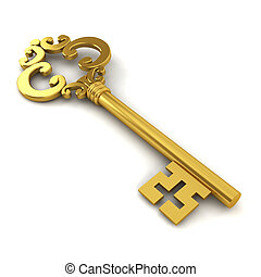 Skeleton key 3d illustration on white background