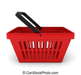 赤, プラスチック, バスケット