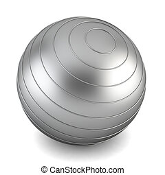 Gray fitness ball 3d illustration on white background