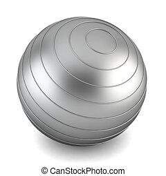 Gray fitness ball. 3d illustration on white background