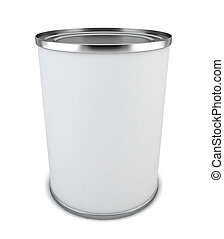 Blank tincan. 3d illustration on white background