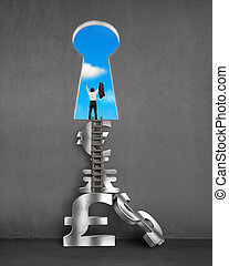 Businessman on top of stack money symbols with blue sky