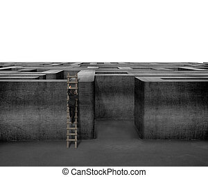 Businessman climbing on wooden ladder to top of concrete...
