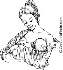 hand drawn woman hugging and feeding your baby illustration