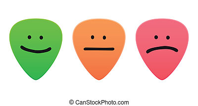 Guitar picks with survey icons - Illustration of an isolated...