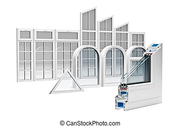 Windows section - incision Pvc profile windows with triple...