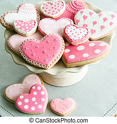 Valentine cookies - Cake stand filled with Valentine cookies