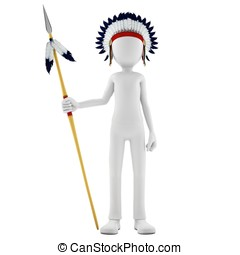 3d man native indian warrior with spear on white background