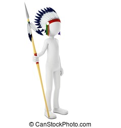 3d man native indian warrior