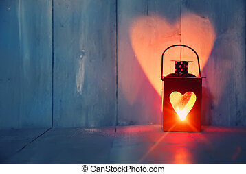 Lantern - St Valentine's day greeting card with candle and...
