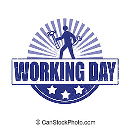 working day grunge stamp on whit vector illustration