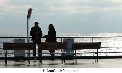 people on deck - passengers on the deck of the ferry