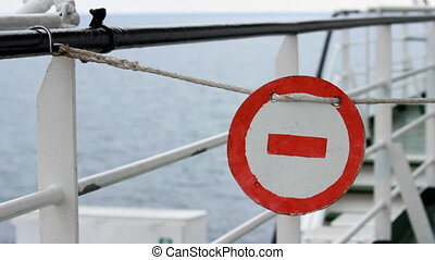 stop sign on the ship