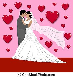 wedding couple with hearts