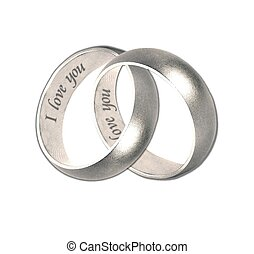 wedding bands silver  i love you