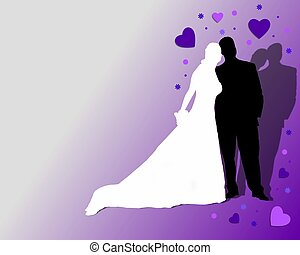 wedding couple on purple background