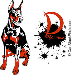 vector dog Doberman Pinscher breed - dog Doberman Pinscher...