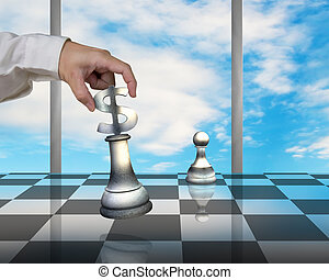Hand holding USD symbol piece playing Chess with pawn - Hand...