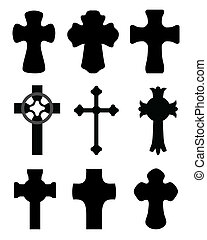 Crosses - Black silhouettes of different crosses, vector...