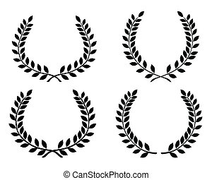 Laurel wreaths 4 - Black silhouettes of laurel wreaths
