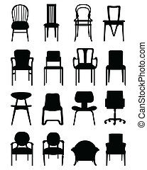 Chairs - Black silhouettes of different chairs, vector...