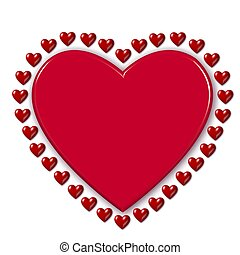 red heart surrounded by hearts
