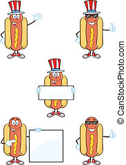 Hot Dog Characters 1 Collection - Hot Dog Cartoon Mascot...