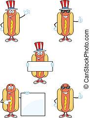 Hot Dog Characters 1 Collection - Hot Dog Cartoon Mascot...